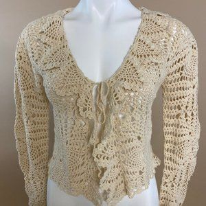 Vintage NWT Ramie Cotton Blend Crochet Cardigan S